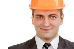 Smiling engineer in hardhat Stock Photo