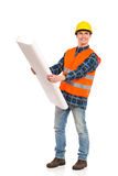 Smiling engineer holding paper project. Royalty Free Stock Photos