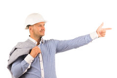 Smiling Engineer Pointing While Coat on Shoulder Royalty Free Stock Photo