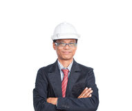 Smiling engineer on white Royalty Free Stock Image