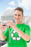 Smiling environmental activist taking a self picture Stock Photography