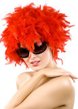 Smiling erotic young woman in magnificent boa. With sunglasses on Stock Photos