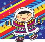 Smiling Eskimo little boy on a motley Escimo style background. Stock Photography