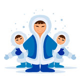 Smiling eskimo people group. Meeting in snow illustration