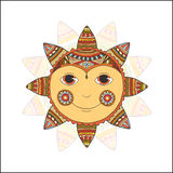 Smiling ethnic sun. Vector illustration, isolated on a white background. Royalty Free Stock Image
