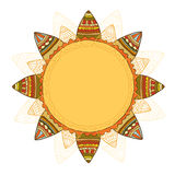 Smiling ethnic sun. Vector illustration, isolated on a white background. Royalty Free Stock Photo