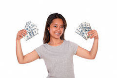 Smiling ethnic young woman with cash money Royalty Free Stock Photography
