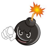 Smiling evil bomb with gesture. Smiling evil black round bomb with fire show gestyre hey you Stock Photos