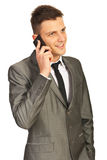 Smiling executive  man by phone mobile Stock Images