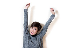 Smiling expression of victory, success, bliss, happiness, winnin Royalty Free Stock Photo