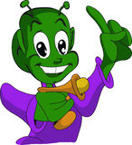 Smiling extraterrestrial kid. A green smiling extraterrestrial kid with a finger pointing up Stock Photography