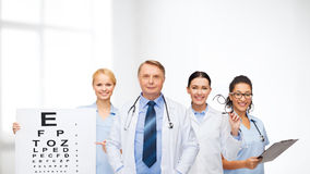 Smiling eye doctors and nurses Stock Image