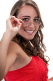 Smiling with eyeglasses Royalty Free Stock Photo