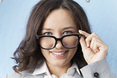 Smiling Eyeglasses Businesswoman Royalty Free Stock Photos