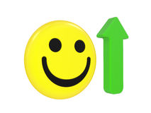 Smiling face and arrow Stock Photo