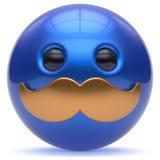 Smiling face cartoon cute mustache emoticon ball happy icon Stock Photos