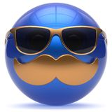 Smiling face cartoon mustache emoticon ball happy joy icon. Smiling face cartoon mustache emoticon ball happy joyful handsome person blue gold caricature Royalty Free Stock Photo