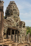 Smiling face decorating the Bayon temple. In the ancient city of Angkor, Cambodia Royalty Free Stock Images