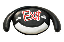 Smiling face with exit sign Royalty Free Stock Photography