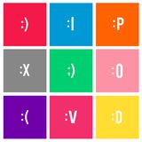 Smiling face expression icon vector illustration on red background Stock Photos