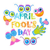 Smiling Face First April Fool Day Happy Holiday Greeting Card. Flat Vector Illustration Stock Images
