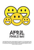 Smiling Face First April Fool Day Happy Holiday Greeting Card. Flat Vector Illustration Stock Photo