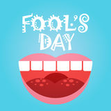 Smiling Face First April Fool Day Happy Holiday Greeting Card. Flat Vector Illustration Stock Photos