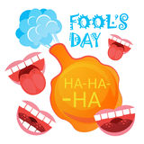 Smiling Face First April Fool Day Happy Holiday Greeting Card. Flat Vector Illustration Royalty Free Stock Photo