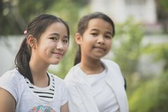 Smiling face happiness emotion of asian teenager stock photography