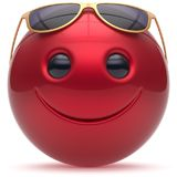 Smiling face head ball cheerful sphere emoticon cartoon red. Smiling face head ball cheerful sphere emoticon cartoon smile happy decoration cute red golden Stock Photos