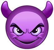 Smiling face with horns emoticon. Smiling face with horns. Purple devil emoticon Royalty Free Stock Photos