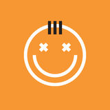 Smiling face icon with forelock. Smiley, emoji Stock Photography