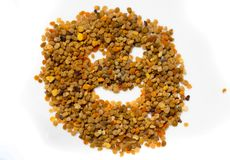 Smiling face made from pollen granules.Natural and health.  royalty free stock images