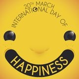 Smiling Face to Celebrate International Day of Happiness, Vector Illustration. Commemorative design with smiling face over yellow background and greeting in the stock illustration