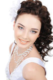 Smiling face of young beauty bride stock photography