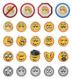 Smiling faces. Multiple Smiling faces and people emotions icons and signs Royalty Free Stock Photography