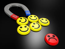 Smiling faces near to a magnet Stock Images