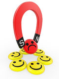 Smiling faces near to a magnet Royalty Free Stock Images