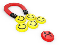 Smiling faces near to a magnet Royalty Free Stock Photos
