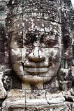 Smiling faces in the Temple of Bayon Stock Photography