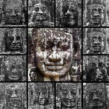 Smiling faces in the Temple of Bayon Stock Images