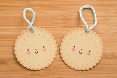 Smiling faces. With wood background Stock Photo