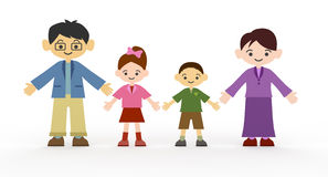 Smiling family. Good time. Healthy family. Take a commemorative photo of the family. Father, mother, son, daughter, family of four Royalty Free Stock Photography