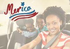 Smiling Family in a car royalty free stock image