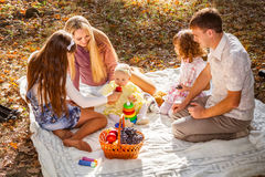 Smiling family with children outdoors Royalty Free Stock Image