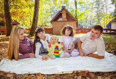 Smiling family with children outdoors Stock Photography
