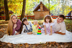 Smiling family with children outdoors Royalty Free Stock Images