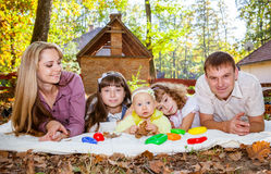 Smiling family with children outdoors Stock Photos