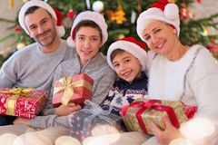 Smiling family at Christmas. Time at home Stock Photography