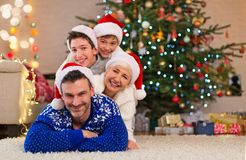 Smiling family at Christmas. Time at home Royalty Free Stock Photos